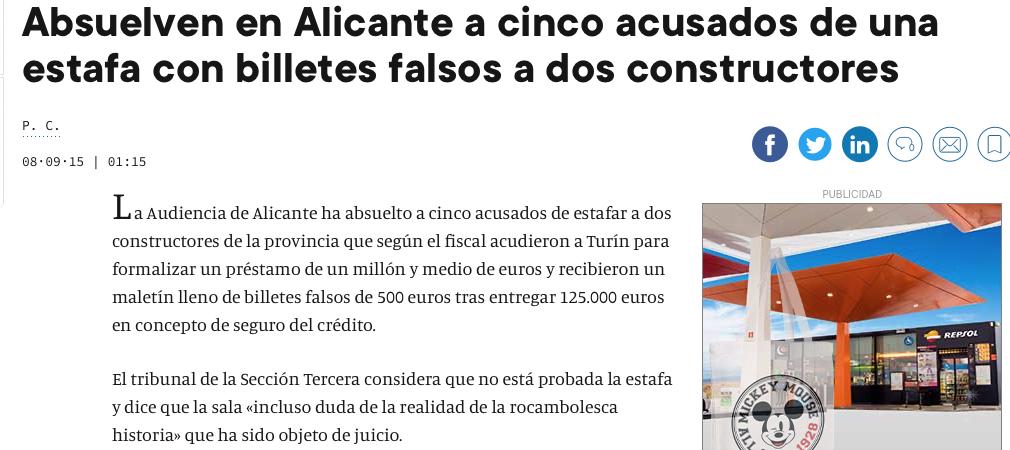 Absuelven en Alicante a cinco acusados de una estafa con billetes falsos a dos constructores